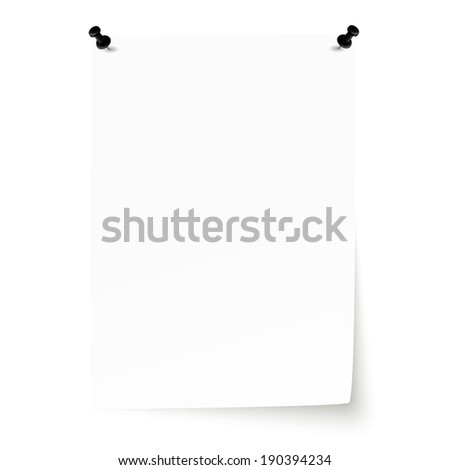 Blank sheet of paper with pins and lifted corner - stock vector