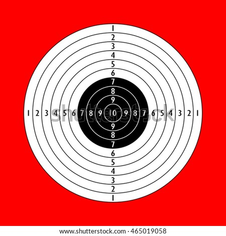 Blank shooting target vector illustration isolated on red background