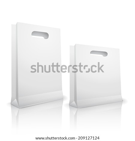 blank shopping bags isolated on white background - stock vector