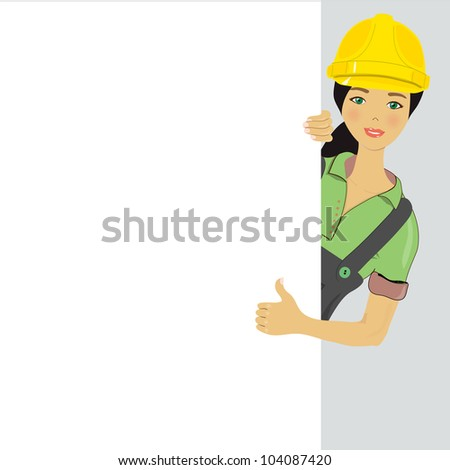 Blank sign - Construction Worker, vector image - stock vector