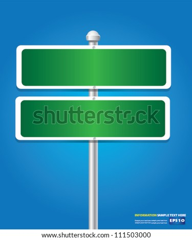 Blank signpost,Green,for text,Vector - stock vector