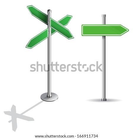 blank signs pointing in opposite directions isometric - stock vector