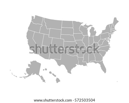 Blank Similar Usa Map Isolated On Stock Vector - Usa map template