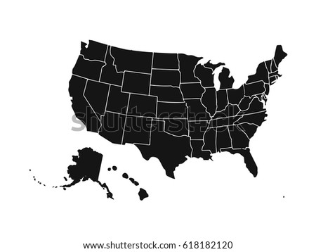 Blank Similar Usa Map Isolated On Stock Vector - Blank usa map
