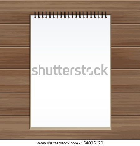 Blank sketch book on wooden background - Vector illustration - stock vector