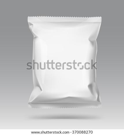 Blank snack bag on gray background. Vector illustration - stock vector