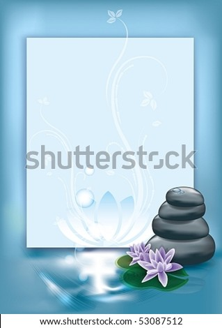 Blank space for text with spa stones and flowers, eps10 vector illustration