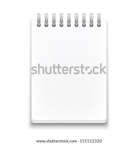 Blank spiral notebook on white background with soft shadows. Vector illustration. EPS10.