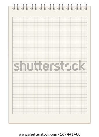 Blank spiral notebook. Top view. Vector illustration. Isolated on white background