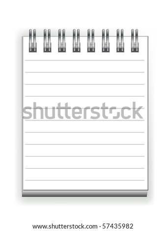 Blank Spiral Notepad isolated on White. Ready for your message. - stock vector