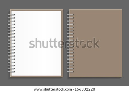 Blank spiral notepad notebook and front cover - Vector illustration - stock vector