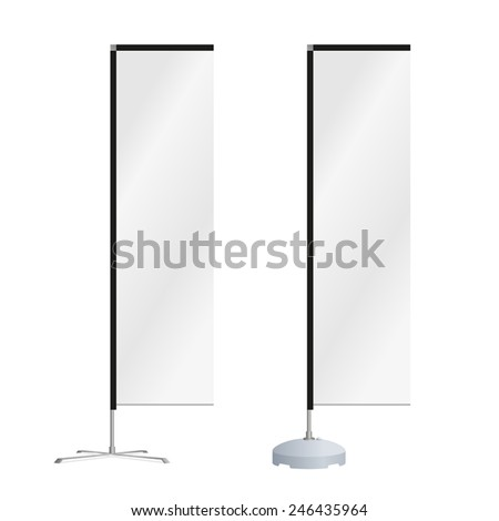 Blank square advertising beach flag or vertical wind banner. Isolated on white background. Editable EPS vector. - stock vector