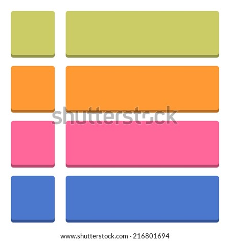 Blank square and rounded rectangle icon isolated on white background in simple flat style. Set 04 green, orange, pink, cobalt colors button. Vector illustration web design element in 8 eps