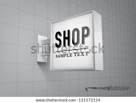 Blank, square shop sign hanging on a wall - stock vector