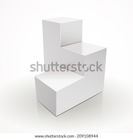 blank square stage isolated over white background - stock vector