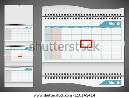 Blank standard wall calendar template isolated on gray background. EPS10 file. - stock vector