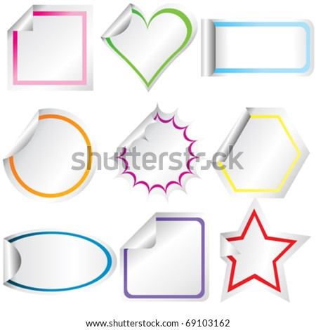 Blank stickers with curled corners - stock vector