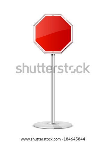 Blank stop road sign with stand isolated on a white background, illustration. - stock vector