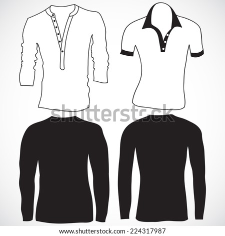Blank t shirt and long sleeve template. Front and back