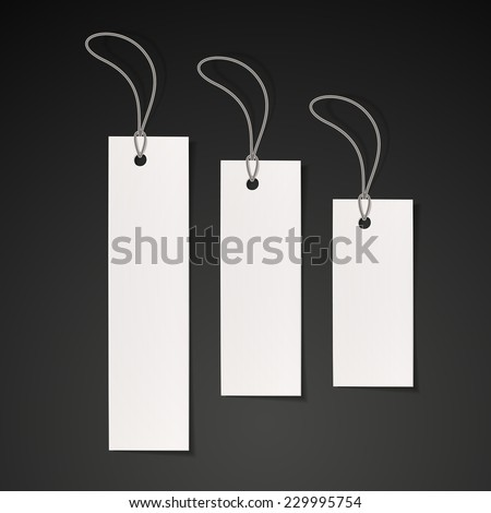 blank tags set design over black background - stock vector