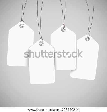 blank tags set design over grey background - stock vector