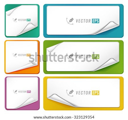 Blank tags template set isolated on white background. Simple label for your design.Blank stickers - stock vector