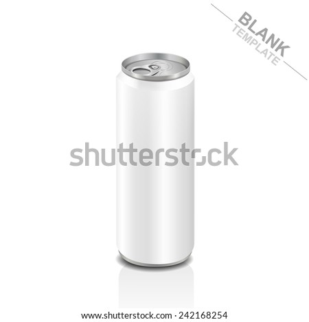 blank tall aluminum drink can isolated on white background - stock vector
