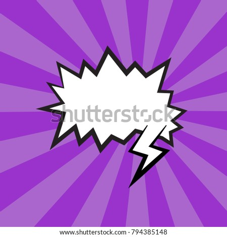 blank template comic speech bubble vector illustration with pop art style isolated on purple background.