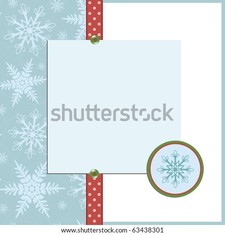 Blank template for Christmas greetings card, postcard or photo frame (EPS10) - stock vector
