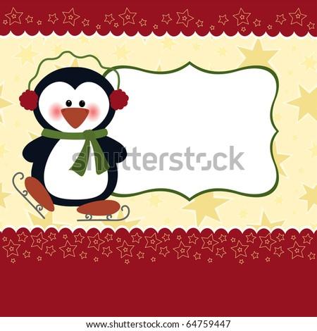Blank template for Christmas greetings card, postcard or photo frame (EPS10) - stock vector