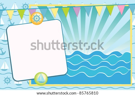 Blank template for greetings card or photo frame - stock vector