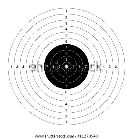 Blank template for sport target shooting competition. Clean target for shooting range. Vector target for pistol shooting. Target with numbers. Template Shooting range target. Shooting targets. - stock vector