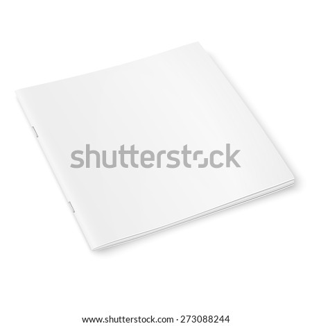 Blank template of square closed magazine on white background with soft shadows. Vector illustration.  - stock vector