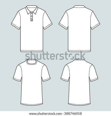 Blank template of t-shirts and polo shirts whith short sleeve. Isolated contour image with white fill. Front and back side of cloth. Vector illustration. Model for fashion designers. Modern wear style - stock vector