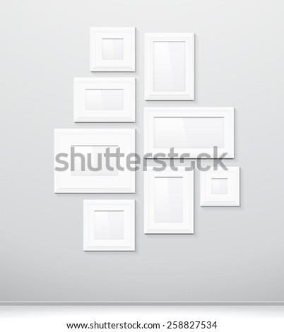 Blank template photo frames on the wall, isolated. In black and white. eps10 vector. - stock vector