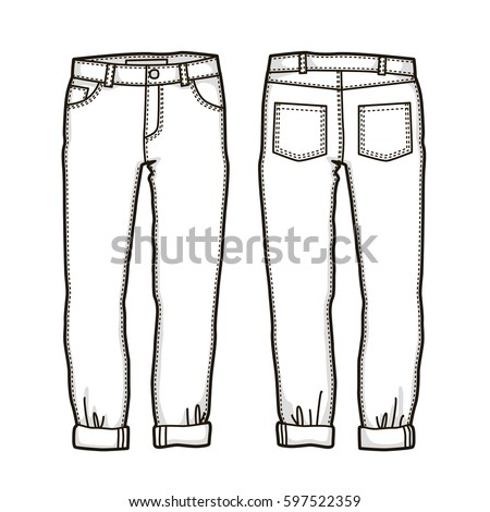 Blank Templates Womens Jeans Front Back Stock Vector ...