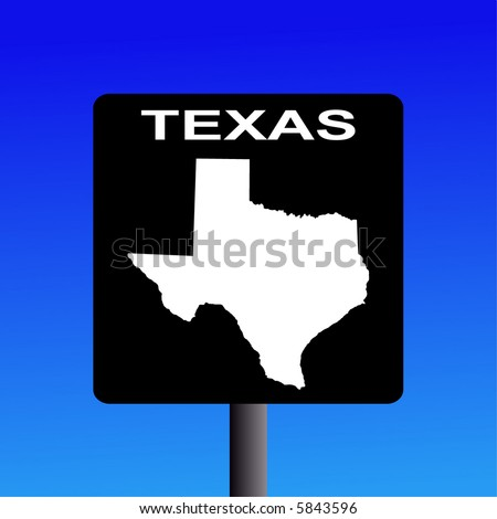 Blank Texas highway sign on blue illustration