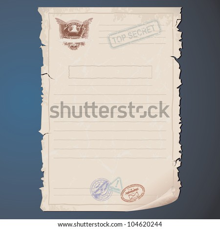 Blank Top Secret Document. Vector Template for your Text and Design - stock vector
