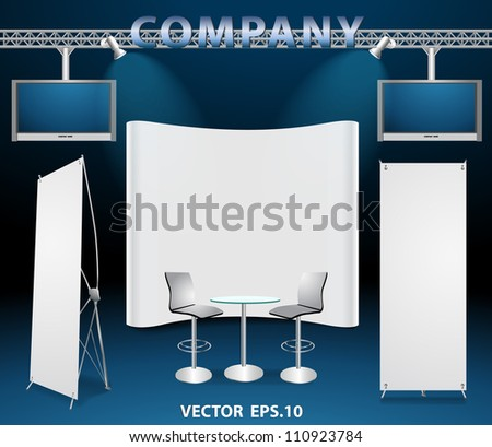 Blank trade exhibition booth display, with widescreen lcd monitor, chair, roll-up banner and lights, vector illustration - stock vector