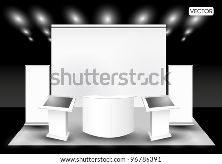 Blank trade exhibition stand and  lcd monitor - stock vector