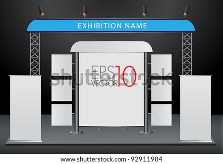 Blank trade exhibition stand and roll up banner. vector template for design work - stock vector