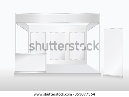 Blank trade show booth mock up - stock vector