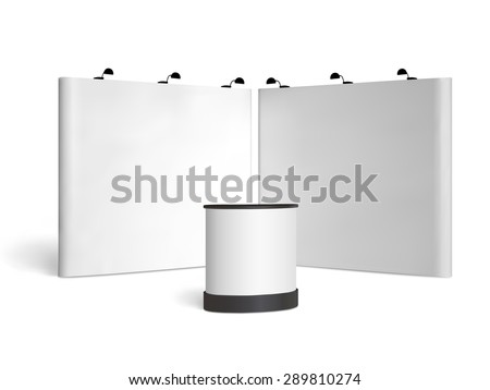 Blank trade show booth mock up. Front view. Vector isolated on white background - stock vector