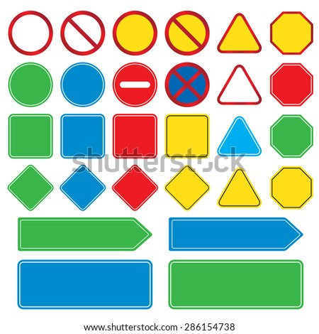 Easy Traffic Drawing Blank Traffic Signs Set Easy