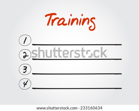 Blank Training list, vector concept background - stock vector