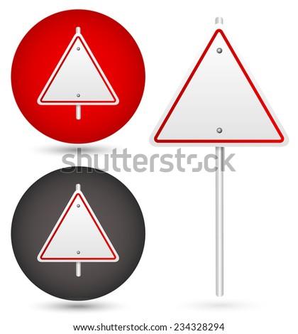 Blank trianglular road sign - stock vector