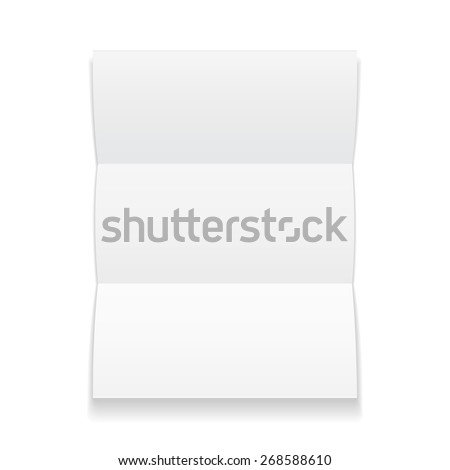 Blank trifold paper brochure with shadows on white for Cardboard brochure holder template