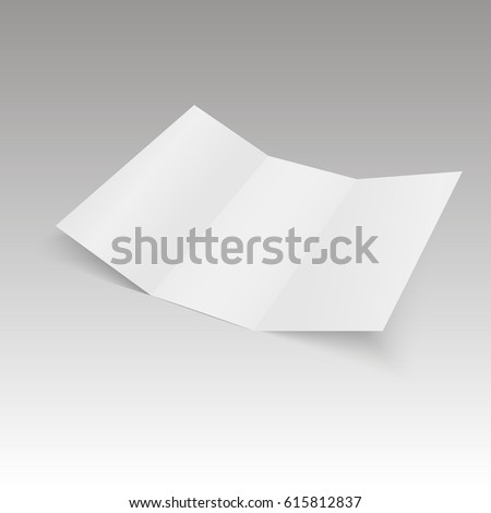 Blank Trifold white template paper with soft shadows. Vector