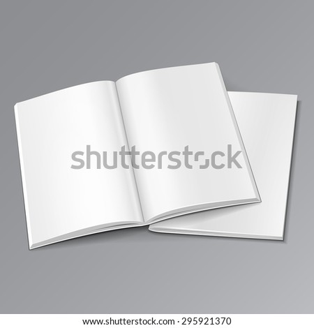 Blank Two Opened Magazine, Book, Booklet, Brochure Cover. Illustration Isolated On Gray Background. Mock Up Template Ready For Your Design. Vector EPS10