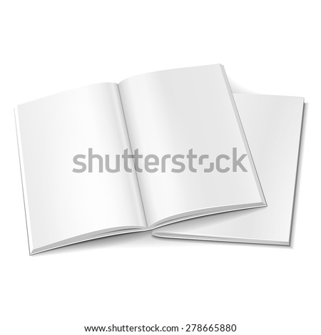 Blank Two Opened Magazine, Book, Booklet, Brochure Cover. Illustration Isolated On White Background. Mock Up Template Ready For Your Design. Vector EPS10 - stock vector